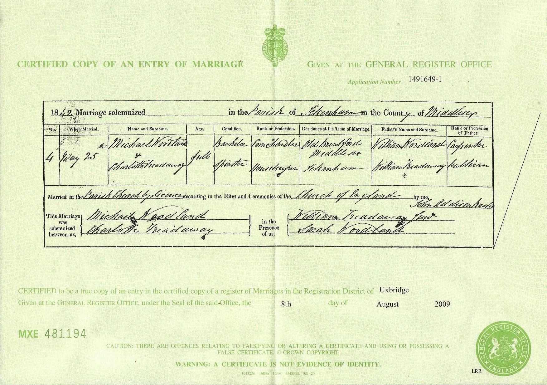 Marriage certificate for Michael Woodland and Charlotte Treadaway