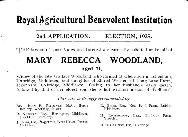 Mary Rebecca Woodland agricultural benifit card